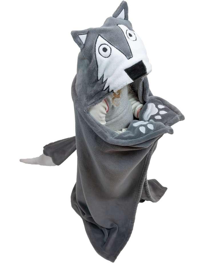 Wolf Kid's Hooded Blanket