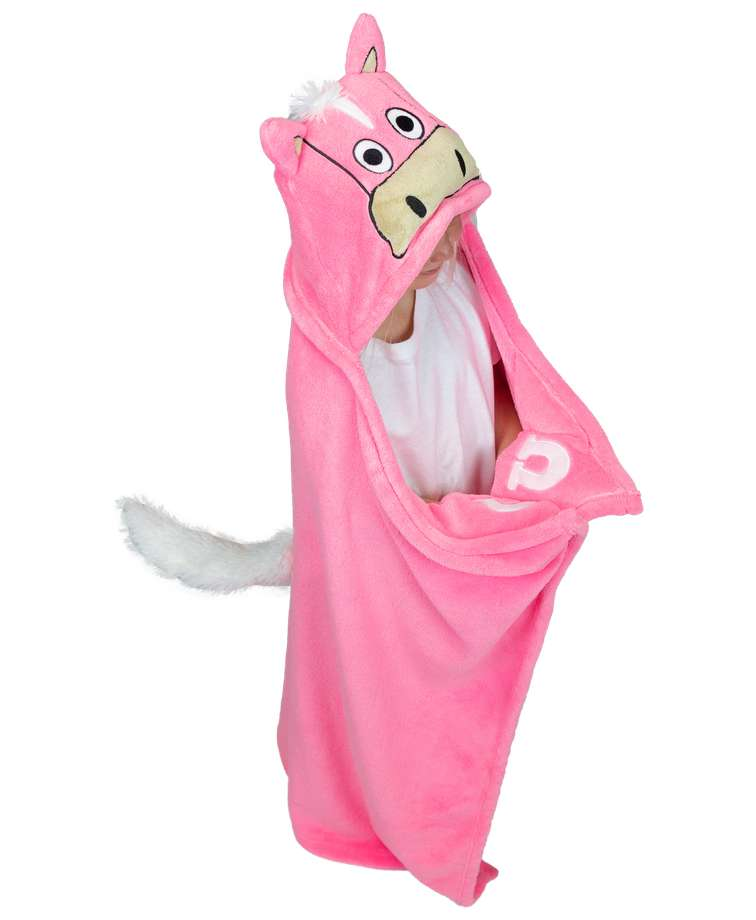 Pink Horse Kid's Hooded Blanket