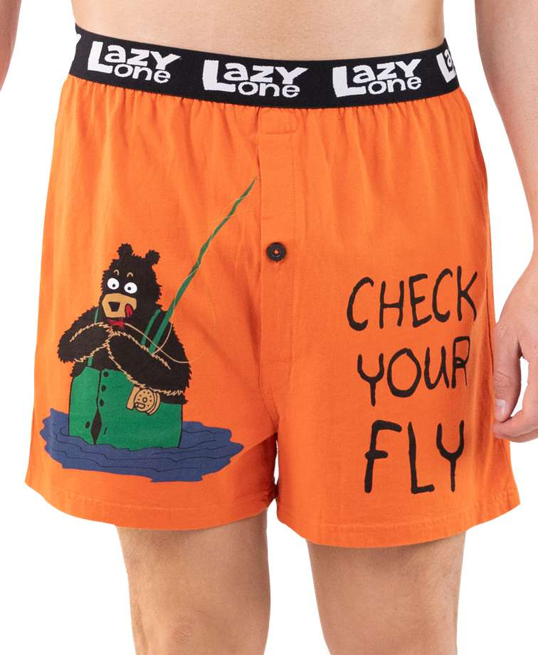 Check Your Fly Men's Fishing Funny Boxer