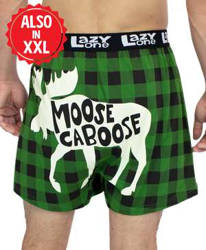 Moose Caboose Plaid Men's Funny Boxer