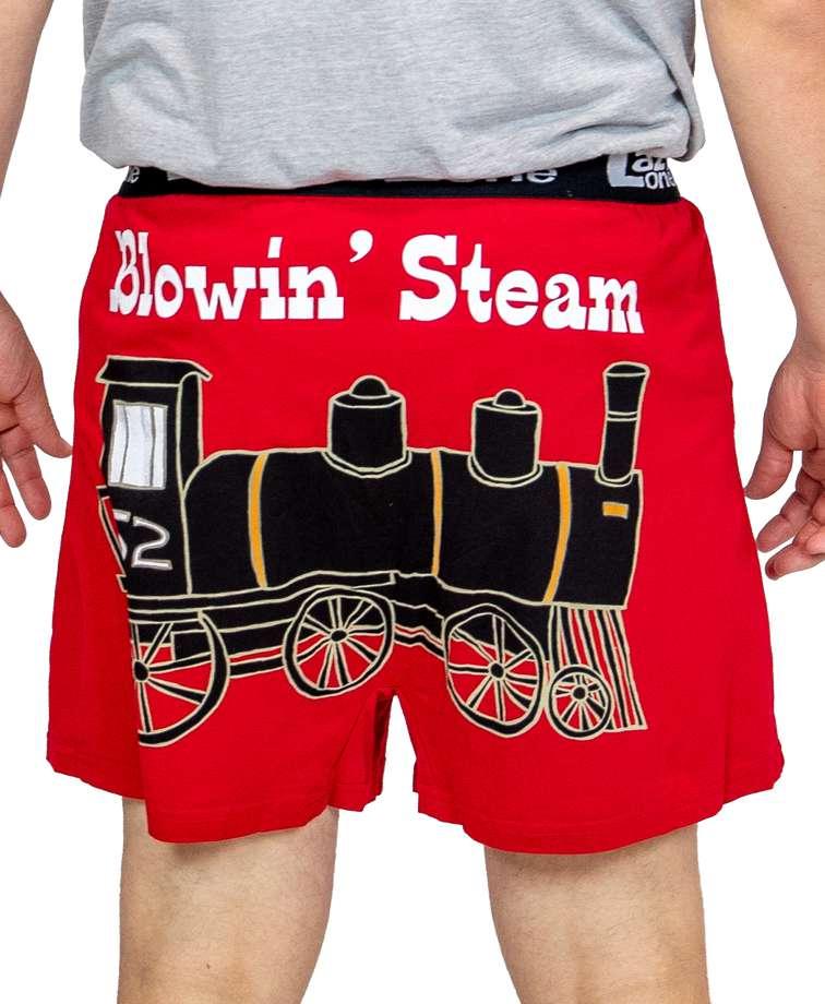 Blowing Steam Men's Train Funny Boxer