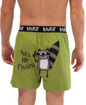 Pull My Finger Men's Funny Raccoon Boxer