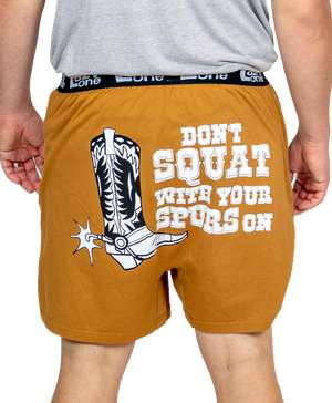 Don't Squat With Your Spurs On Men's Boot Funny Boxer