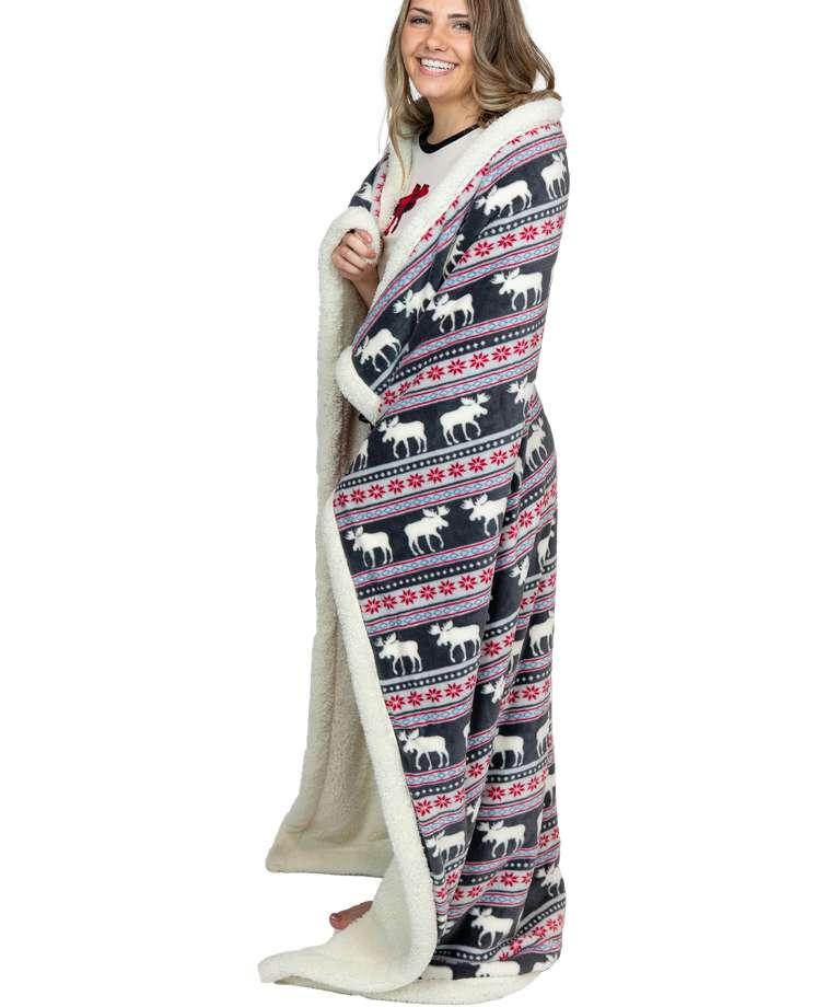 Moose Fair Isle Sherpa Throw Blanket