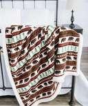 Bear Fair Isle Sherpa Throw Blanket