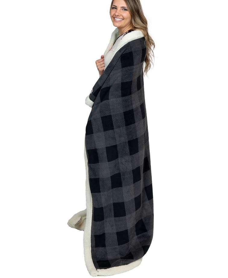 Grey Plaid Sherpa Throw Blanket