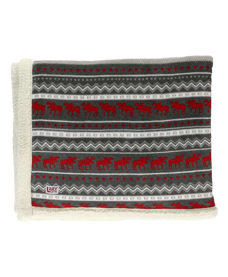 Cabin Moose Sherpa Throw Blanket