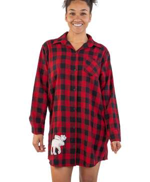 Flannel Moose Plaid | Button Nightshirt