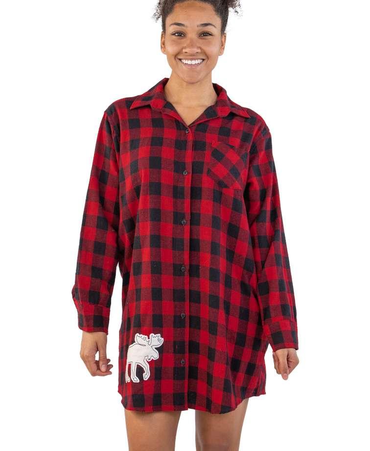 Flannel Moose Plaid | Button Nightshirt