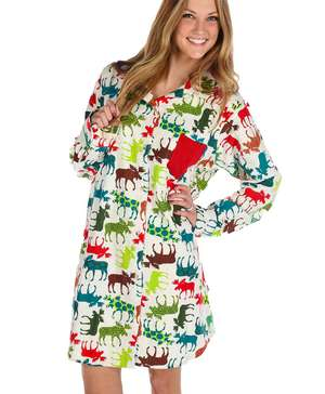Pattern Moose Button Nightshirt