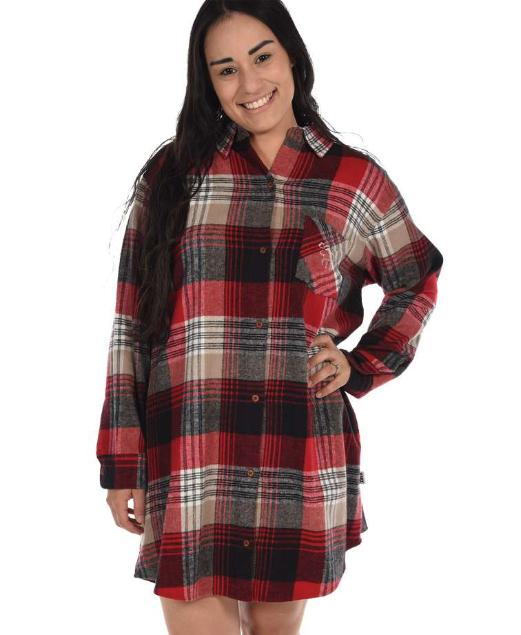 Country Plaid Flannel Button Nightshirt