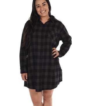 Grey Plaid Flannel Button Nightshirt