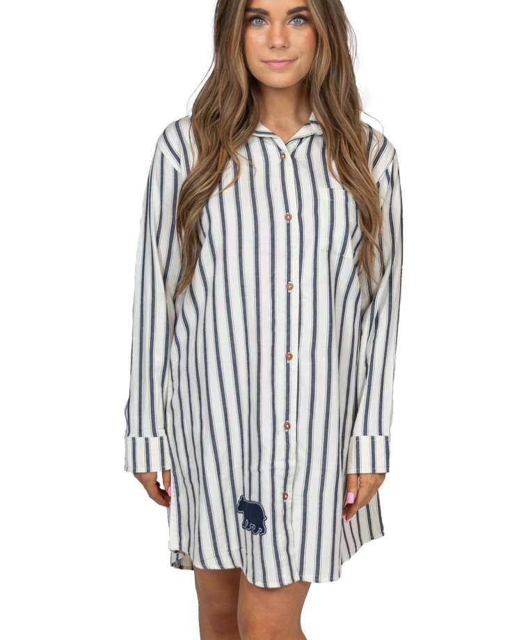Ticking Bear Women's Button Nightshirt