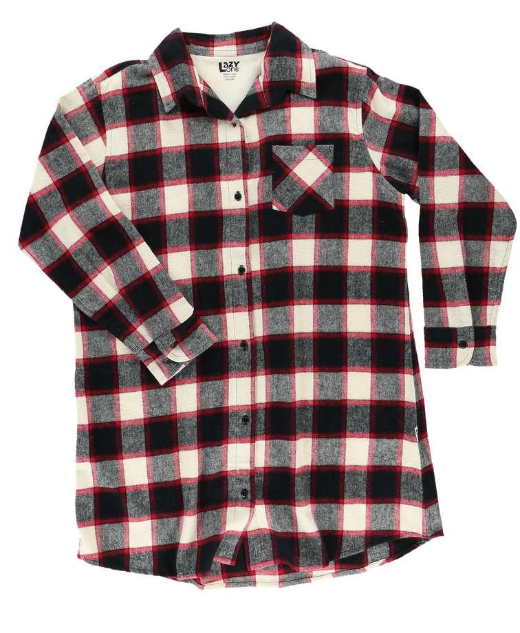 Flannel Black Plaid   Button Nightshirt