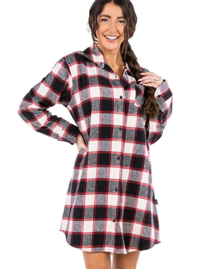 Flannel Black Plaid | Button Nightshirt