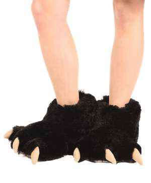 Black Bear Kid and Adult Paw Slipper