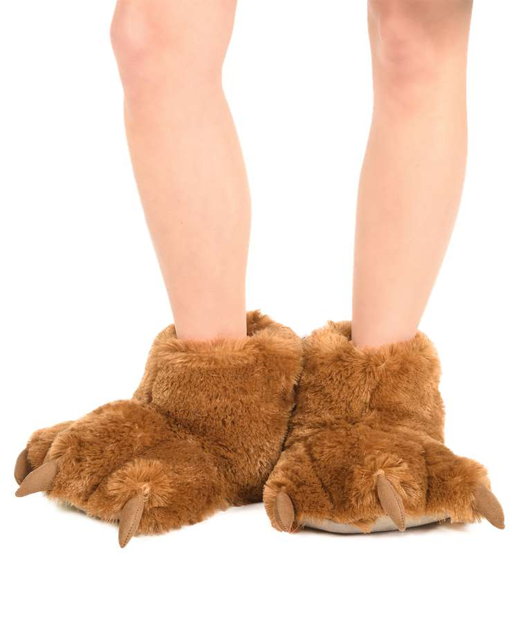 Brown Bear Kid and Adult Paw Slipper