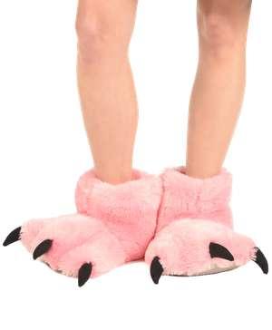 Pink Bear Kid Adult Paw Slipper