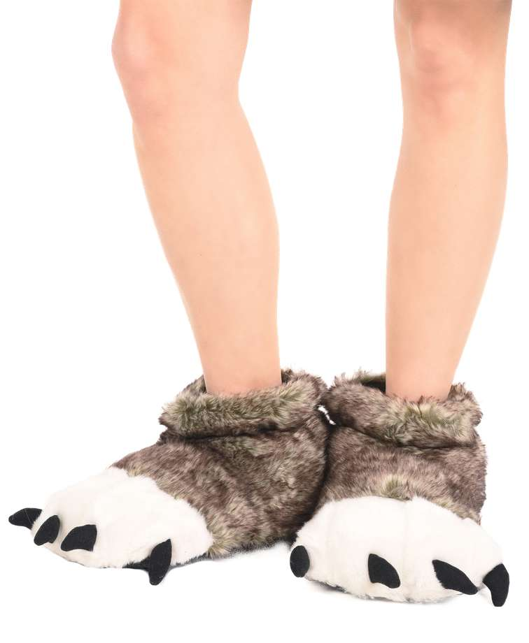 Wolf Kid and Adult Paw Slipper