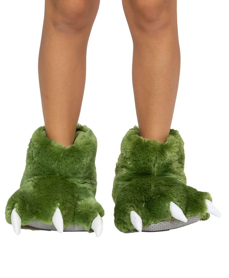 Green Dino Kids and Adult Paw Slipper