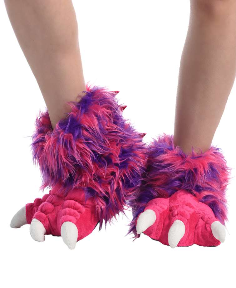 Pink Monster Kid and Adult Paw Slipper