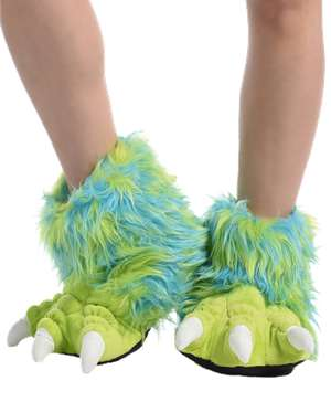 Green Monster Kid and Adult Paw Slipper