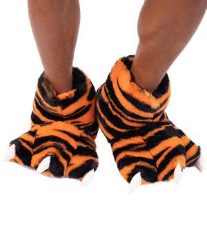 Tiger Kid and Adult Paw Slipper