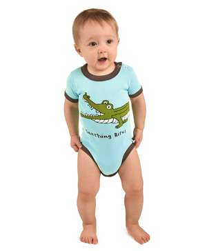 Teething Bites Infant Gator Creeper Onesie