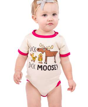 Duck Duck Moose Pink Infant Creeper Onesie