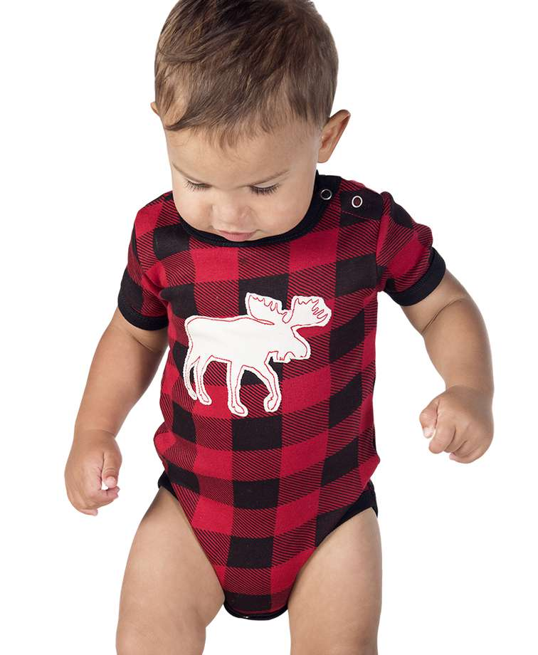 Moose Plaid Applique Infant Creeper Onesie
