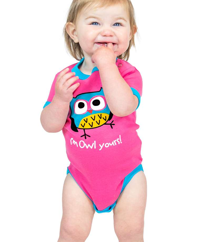 Owl Yours Pink Infant Creeper Onesie