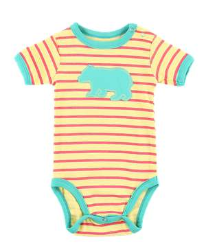 Bear Stripe Yellow Infant Creeper Onesie