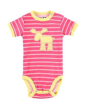 Moose Stripe Pink Infant Creeper Onesie