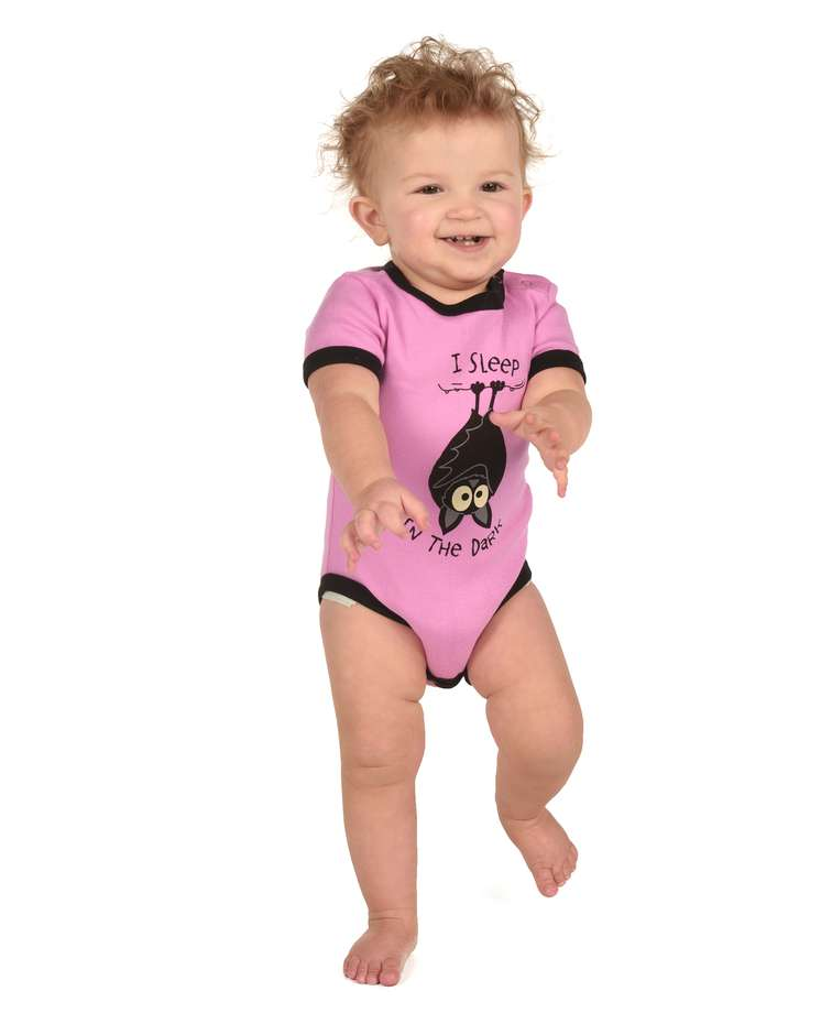 Sleep in the Dark Pink Infant Creeper Bat Onesie