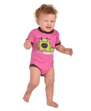 Little Monster Pink Infant Creeper Onesie