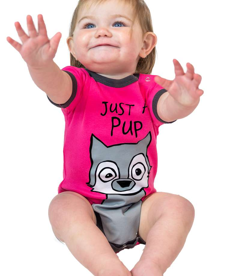 Just A Pup Wolf Infant Creeper Pink Onesie