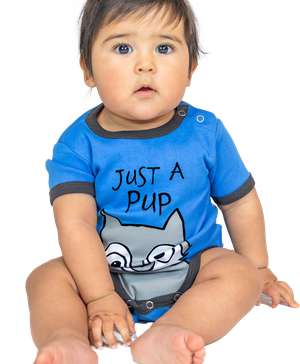 Just A Pup Wolf Infant Creeper Blue Onesie