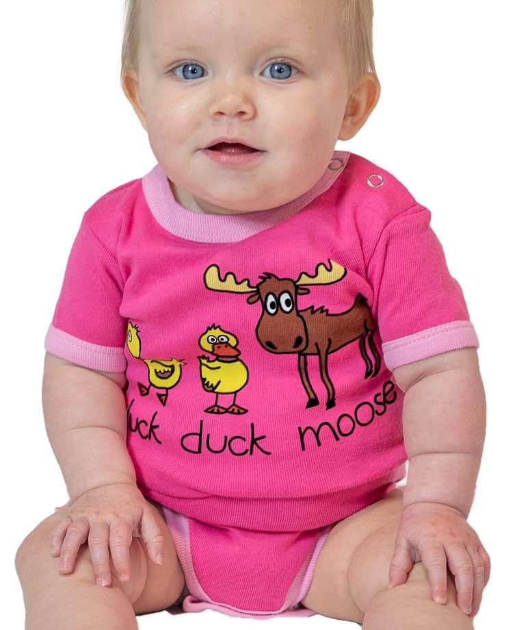 Duck Duck Moose Pink Infant Creeper Onesie (C)