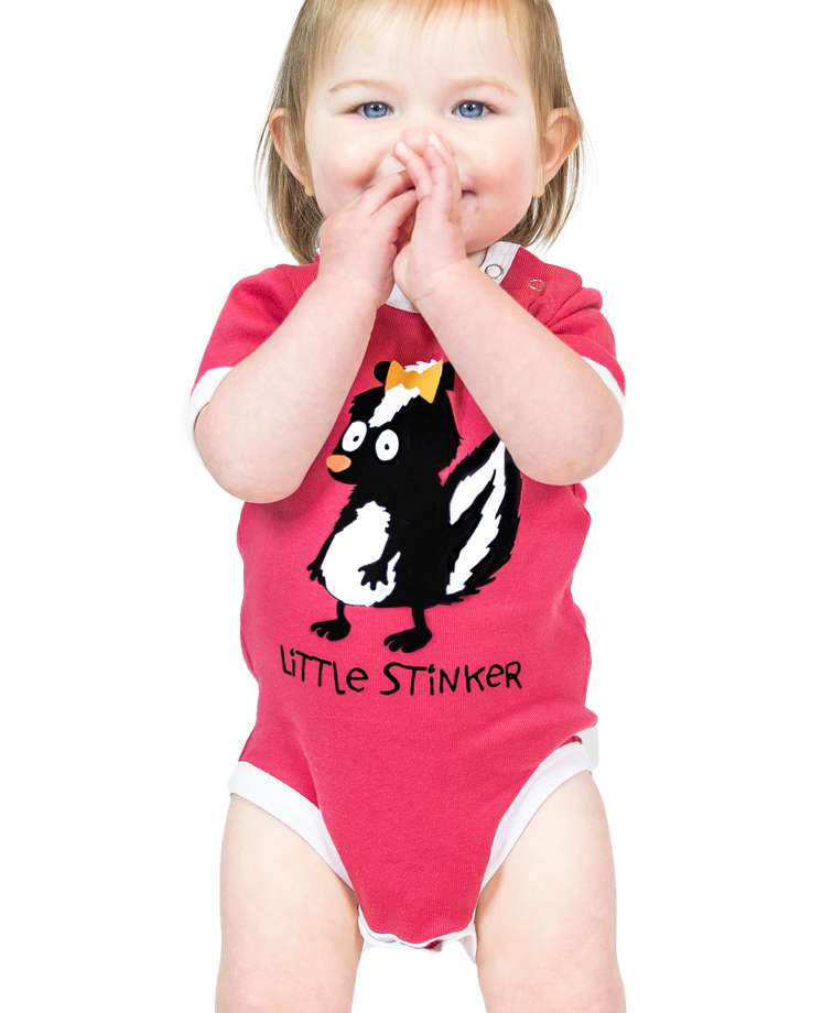 Little Stinker Pink Skunk Infant Creeper Onesie