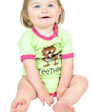 Teething Green Infant Beaver Creeper Onesie