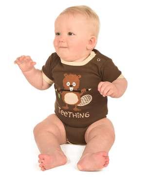 Teething Brown Infant Beaver Creeper Onesie