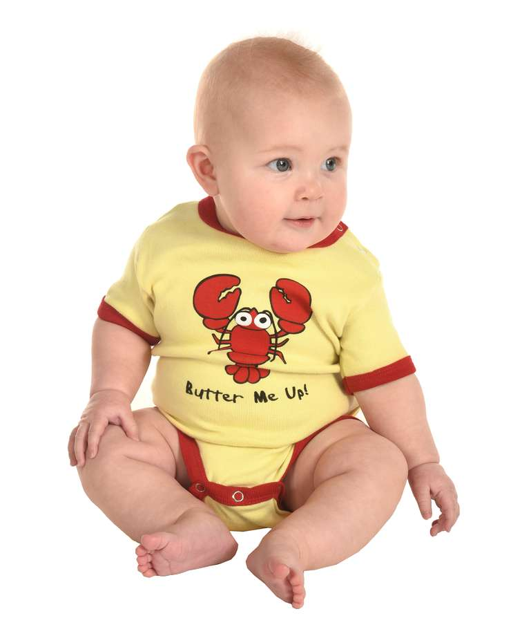 Butter Me Up Yellow Infant Creeper Lobster Onesie