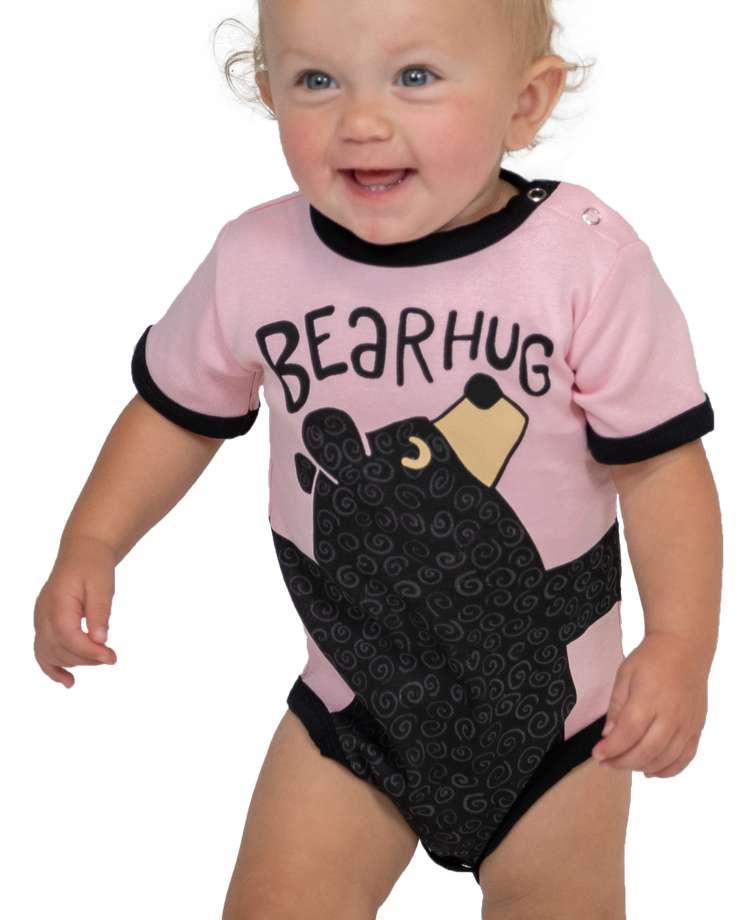 Bear Hug Pink Infant Creeper Onesie