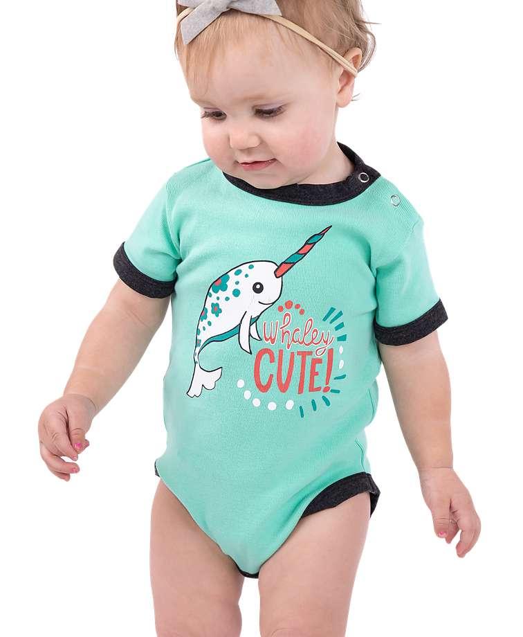 Whaley Cute Narwhal Infant Creeper Onesie