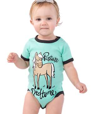 Pasture Bedtime Mint Horse Infant Creeper Onesie