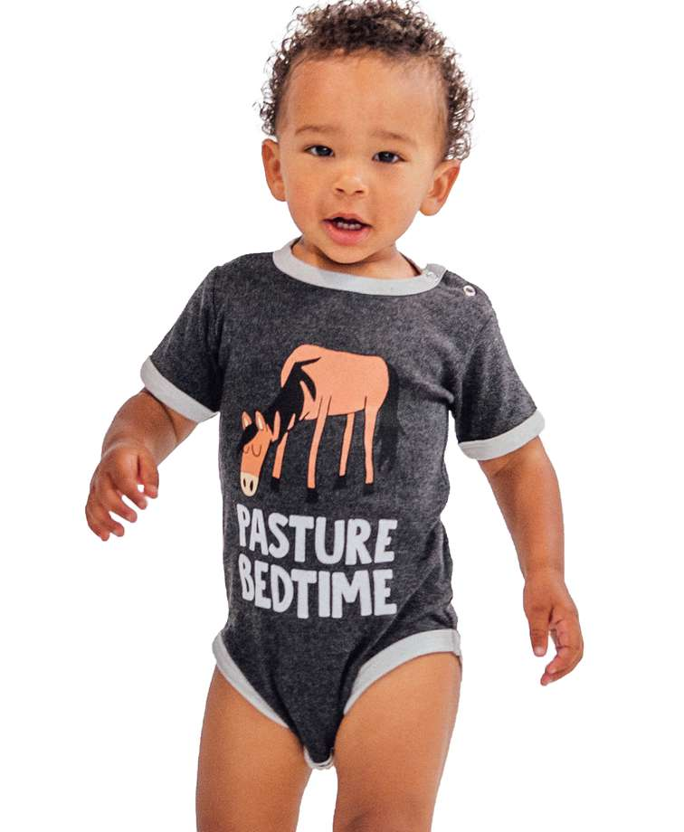 Pasture Bedtime Grey Horse Infant Creeper Onesie