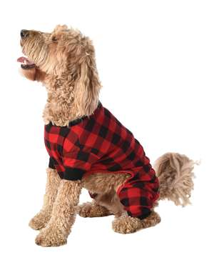 Bear Cheeks Plaid Dog Onesie Flapjack