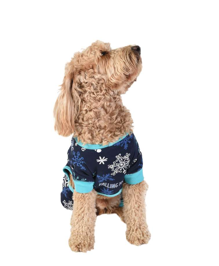 Falling to Sleep Snowflake Dog Onesie Flapjack