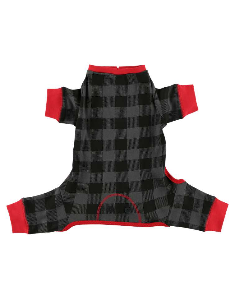 Grey Plaid Dog Onesie Flapjack