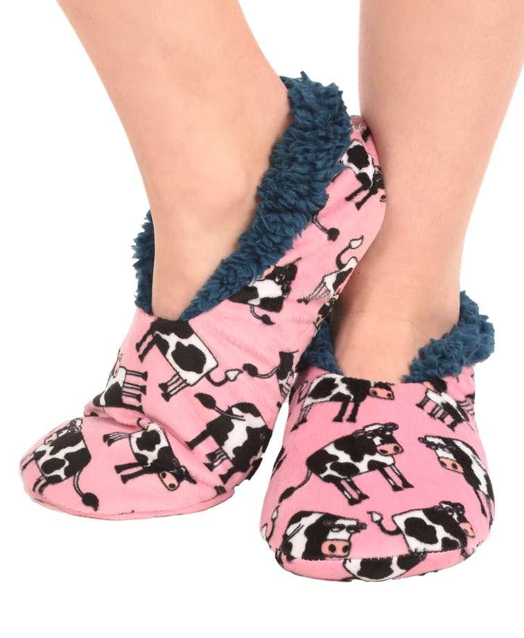 Moody Cow Fuzzy Feet Slipper